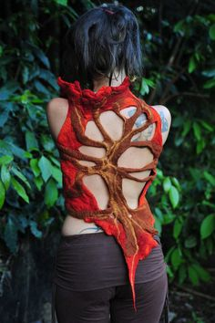 Felt Melted Autumn Open Back Tree of Shadows Orange Sunset High Collar Pixie Vest  OOAK. $178.00, via Etsy.