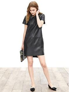 Leather-Front Tee Dress