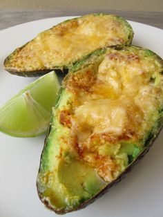 Grilled avocado with melted cheese & hot sauce