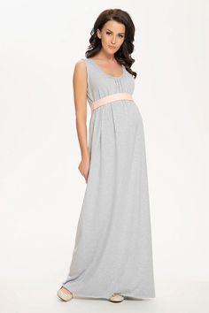 Maxi sukienka na grube ramiączka z kontrastowym pasem pod biustem  Tehotenstvo bdd55eb818b