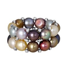 Beautiful Silver Beads Multicolor Cultured Freshwater Pearl Stretch Ring