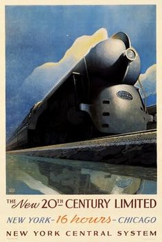 """""""New York to Chicago in 16 Hours"""" vintage travel poster."""