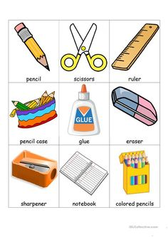 School supplies and extra bingo welcome to school, classroom language, printable worksheets, vocabulary School Supplies Tumblr, School Supplies For Teachers, School Supplies Highschool, School Supplies Organization, Learning English For Kids, English Lessons For Kids, Teaching English, English Activities, Preschool Activities