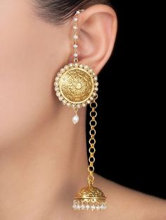 Buy Golden Ivory Ethno Silver Earrings by Mohh India Pearl Jewelry Online at Jaypore.com