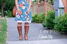 "DIY Lace slip. Super cute and versatile. Used a 22"" slip. Be sure to use a zigzag stitch! Very easy!"