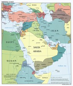 Map showing the boundaries of Saudi Arabia UAE Iraq Iran etc