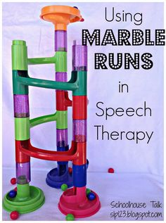 Marble runs are a versatile and fun therapy tool to target multiple communication goals.