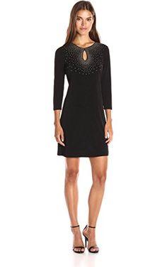 Calvin Klein Women's 3/4 Sleeve Sheath Dress with Hot Fix Deatil, Black, 4 ❤ Calvin Klein Women's Dresses