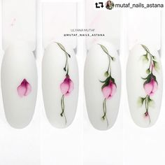 Toe Nail Art, Nail Art Diy, Acrylic Nails, Nail Art Modele, Water Color Nails, Nails Now, Nail Art Techniques, Floral Nail Art, Latest Nail Art