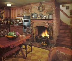 Rustic/primitive kitchen fireplace and staircase. Build A Fireplace, Primitive Fireplace, Fireplace Ideas, Sweet Home, Cozy Kitchen, Kitchen Ideas, Neutral Kitchen, Nice Kitchen, Kitchen Corner