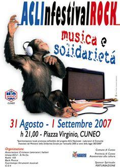 ACLI FESTIVAL ROCK - MUSICA E SOLIDARIETà - SCIMMIA DEPLIANT LOCANDINE #scimmia #musica #solidarietà #rock #concerto #pubblicità #promozione #depliant #dronero #cuneo #piemonte #italia #gem