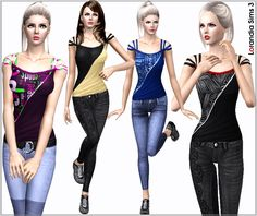 Lorandia Sims3 Fitted sport casual top by Lore - Sims 3 Downloads CC Caboodle