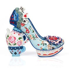 Alice In Wonderland Inspired Us To Create These Shoes ❤ liked on Polyvore featuring shoes and alice in wonderland