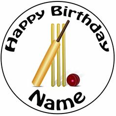 "Personalised Cricket Bat And Stumps Cake Topper - A Pre-Cut Round 8"""" Icing Decoration"