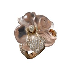 Caresse d'Orchidées par Cartier High Jewelry ring Pink gold, one sculpted morganite, brilliants. Rock crystal stand