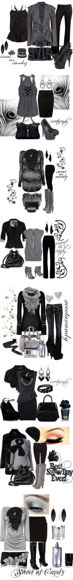 """Black, Gray, and Charcoal"" by sweetlikecandycane on Polyvore!!! Cant go wrong with these!!!"