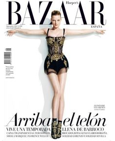 Fashion Bible – The September cover of Harper's Bazaar Spain has biblical tones with an image depicting model Guinevere van Seenus posing on an imaginary… Fashion Magazine Cover, Cool Magazine, Fashion Cover, Magazine Images, Life Magazine, Magazine Design, Lauren Hutton, Florence Welch, Harpers Bazaar