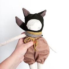 Wolf doll 'Lasse' handmade puppa cloth doll, puppadolls, poppy and owl, crochet