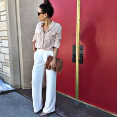 A blush button-down with white wide leg trousers is great look for Spring.