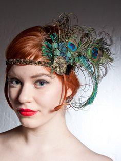 Absinthe Nymph Peacock Feather Flapper Headband