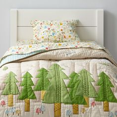 "If your little one naps in our Nature Trail Toddler Bedding, and you're not around to hear them, do they still make a sound?  We're guessing the answer is no, thanks to the comfy 100% cotton that'll keep them sleeping soundly through the night. Designed by the folks from Paper and Cloth, the beautiful forest themed print gives it a playful look.<br><br>Moving from a crib to a toddler bed? Shop our collection of <a href=""http://www.landofnod.com/toddler-beds/kids-furniture/1"" title=""toddler…"