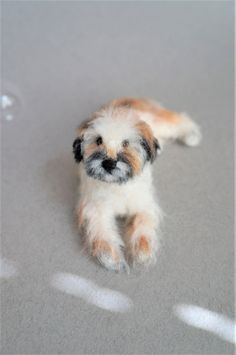 Custom Needle Felted Wheaton Terrier Dog Portrait Sculpture, Miniature Animal, Pet Memorial, Stocking Stuffer by JanetsNeedleFelting on Etsy