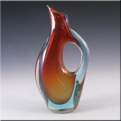Murano/Venetian Red & Blue Sommerso Glass Vase - £40.00