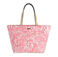 Kate Spade Pink Palm Grant Street Grainy Vinyl Jules Tote Bag for sale online White Tote Bag, Pink Tote Bags, Beach Tote Bags, Kate Spade Totes, Kate Spade Tote Bag, Kate Spade Pink, Pink Handbags, Kate Spade Handbags, Summer Accessories