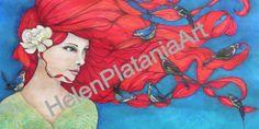 Earthly Essence' Mixed Media Art Prints Available #mixedmedia #red hair #girl #birds #blue #whimsical #flower #Art