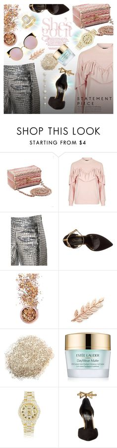 """Untitled #1572"" by elena-777s ❤ liked on Polyvore featuring Chanel, Topshop, Loewe, Oscar de la Renta, In Your Dreams, Avigail Adam, Estée Lauder, Rolex, Fendi and 2017"