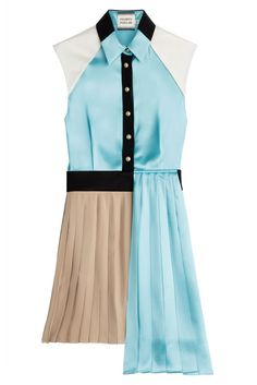 #Fausto #Puglisi #Plissiertes #Shirt, #Dress #, #Türkis für #Damen - Bieder? Von wegen! Mit seinem plissierten Hemdkleid erfindet Fausto Puglisi das Statement > Dressing neu  >  Satin in Creme, Türkis, Schwarz und Beige, Kragen, Knopfleiste mit goldfarbenen Knöpfen, plissierter Rock  >  Schmal geschnitten  >  Stylen wir mit Skyscraper > Heels und einer Clutch