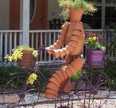 Cr ations personnages en pots de fleurs au jardin for Personnage decoration jardin