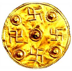 Ancient Greek gold disk with swastikas at Greece's Otagon Museum dates to the 8th century B.C. -