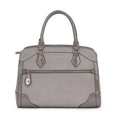 Grey Turnlock Pocket Tote Bag