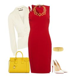 """""""outfit 2268"""" by natalyag ❤ liked on Polyvore featuring Gucci, Christian Louboutin, Versace, Stephanie Bates and Yves Saint Laurent"""