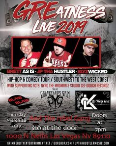Las Vegas has the best shows in the world!  Check out the best shows that the world's greatest city has to offer!    Come join us for The #greatnesslivetour with JP Tha Hustler, Brett As Is, and Slyz Wicked at The Boxx East Side Bar & Venue located on 1000 N Nellis Blvd! Tickets are $10 so come get them while they last! We will have some special guests performing so come down and get lit with us! #jpthahustler #theboxx #theboxxeastsidebarandvenue #blawblaw #rebelgang #undergroundhiphop…
