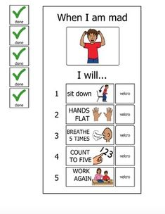 Materials to make a laminated board to recall and reinforce the steps for calming down: sit down flat hands on the table or his or her lap breathe in and out 5 times and count before returning back to work. Teaching Social Skills, Social Emotional Learning, Classroom Behavior, Autism Classroom, Kids Coping Skills, Education Humor, Health Education, Physical Education, Therapy Activities