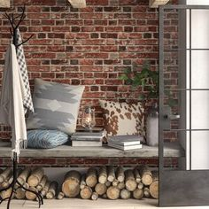Millwood Pines Bryanna Distressed L x W Peel and Stick Wallpaper Roll Colour: Red/Grey Wood Plank Wallpaper, Brick Wallpaper Roll, Metallic Wallpaper, Embossed Wallpaper, Damask Wallpaper, Wallpaper Panels, Textured Wallpaper, Peel And Stick Wallpaper, Textured Walls