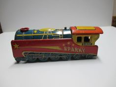 Vintage Sparky Tin Train Engine Shell D1620 Japan
