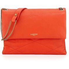 Lanvin Sugar Medium Chain Shoulder Bag ($1,314) ❤ liked on Polyvore featuring bags, handbags, shoulder bags, purses, purse, red handbags, accessories handbags and lambskin handbag