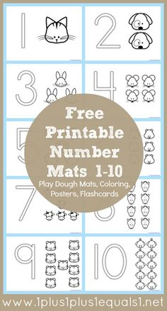Free Number Coloring Printables - laminate and use wipe off crayons or playdoh Numbers Preschool, Learning Numbers, Preschool Printables, Preschool Worksheets, Preschool Kindergarten, Preschool Learning, Preschool Activities, Kids Learning, Homeschool Math