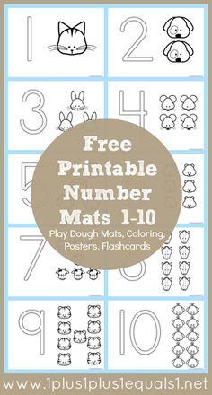 Free Number Coloring Printables from @1plus1plus1 #totschool #preschool