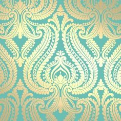I Love Wallpaper™ Shimmer Damask Metallic Wallpaper Rich Teal / Gold (ILW980014) - I Love Wallpaper™ from I love wallpaper UK