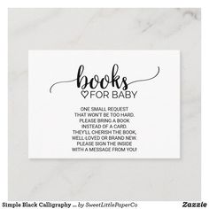 Simple Black Calligraphy Book Request Enclosure Baby Sprinkle Invitations, Baby Shower Invitations, Shower Favors, Shower Games, Zazzle Invitations, Rustic Books, Minimalist Book, Modern Books, Rose Gift