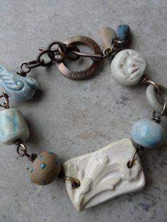 Ceramic Lampwork And Vintaj Br Wire Wred Bracelet