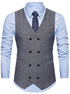 V Neck Double Breasted Belt Design Waistcoat Mens Suit Vest, Men's Waistcoat, Mens Suits, Blazer Outfits Men, Blazer Fashion, Suit Fashion, Stylish Waistcoats, Chaleco Casual, Gilet Costume