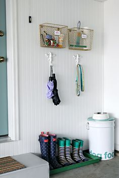 There is always a small pile of random items that land on our kitchen counter right inside the door, that really belong out in the garage or in the car.  These baskets are fantastic for catching miscellaneous necessities. 77 Getting Our Groove On in the Garage!
