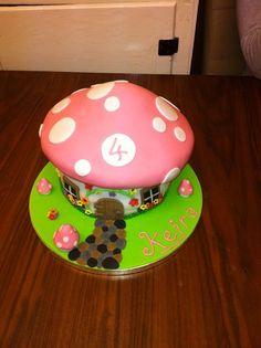 Toadstool cake Fairy House Cake, Toadstool Cake, Stuffed Mushrooms, Birthday Cake, Cakes, Desserts, Food, Stuff Mushrooms, Tailgate Desserts