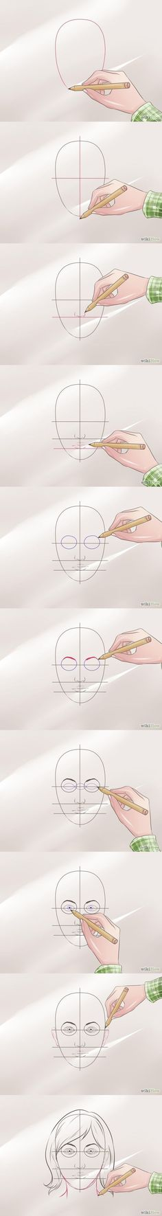 How to draw a face Step by step tutorial Wikihow draw face drawing how to by olga Drawing Skills, Drawing Lessons, Drawing Techniques, Drawing Tips, Drawing Sketches, Art Lessons, Painting & Drawing, Sketching, Drawing Ideas