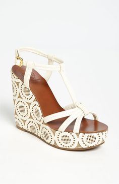 In love with this lacy, t-strap @Victoria McCoy Burch wedge sandal.